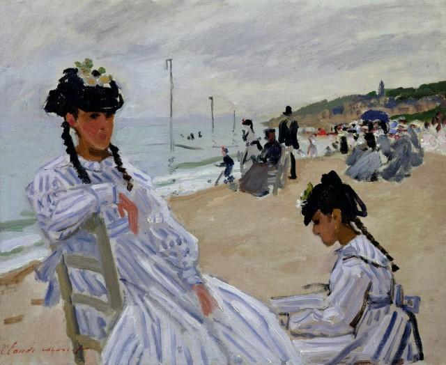 """Клод Моне """"На пляже в Трувилле"""" (Sur la plage à Trouville, Claude Monet), 1870-1871гг."""