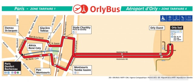 Маршрут автобуса-шаттла Orlybus